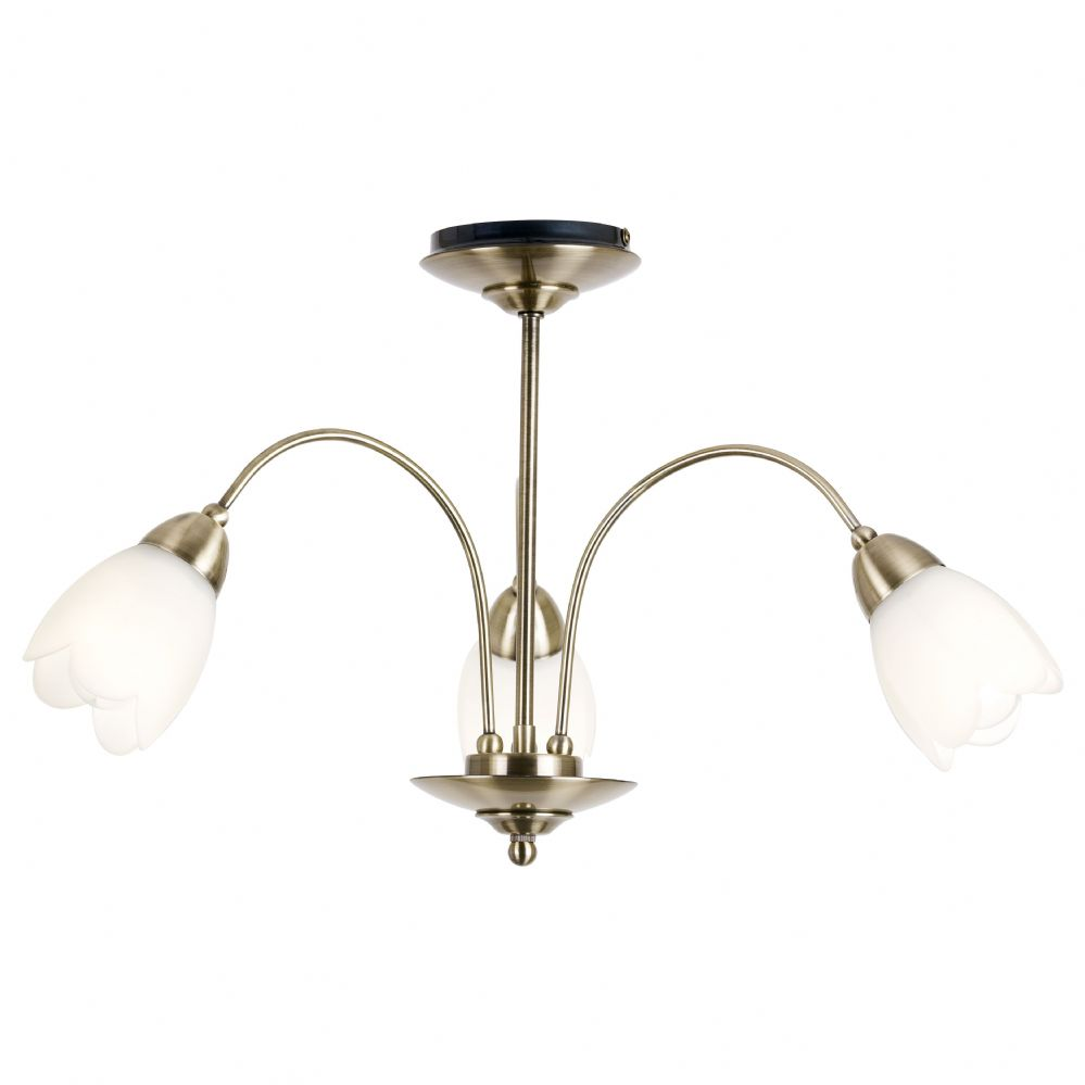 3 Light Ceiling Fitting In Antique Brass 124 3ab